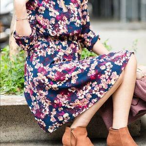 Floral Long-Sleeve Midi Dress